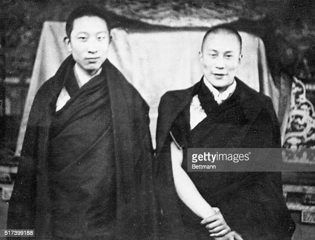 10/8/1952Lhasa Tibet Panchen Ngoerhtehni also known as the Panchen Lama is shown with the Dalai Lama boy spiritual leader of Tibet when they met...