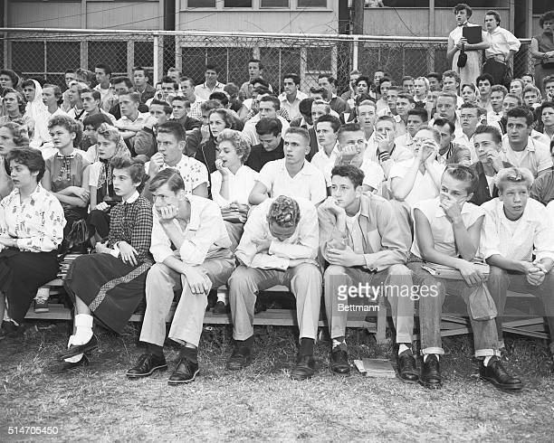 10/8/1954Washington DC The facial expressions of these Anacostia High School students reflect the seriousness of the situation during a meeting on...