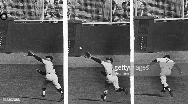This sequence shows the play which earned Yankee centerfielder Mickey Mantle a special hug from teammate Don Larsen after Larsen hurled the first...