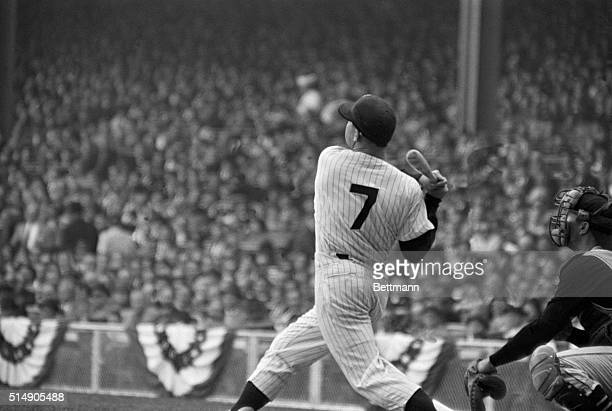 10/8/1960New York NY Yankee slugger Mickey Mantle batting during the third game of the World Series between the Yanks and the Pirates