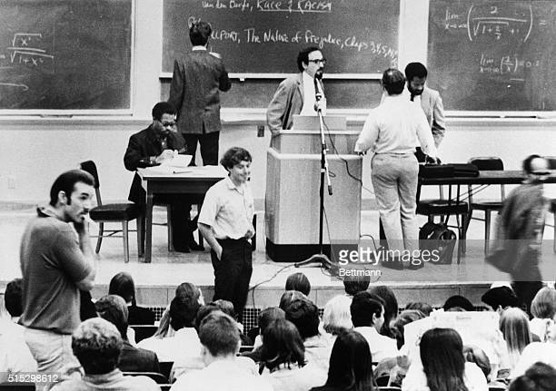 10/8/1968Berkeley CABlack Panther leader Eldridge Cleaver leafs through some papers at the University of California prior to giving his first lecture...