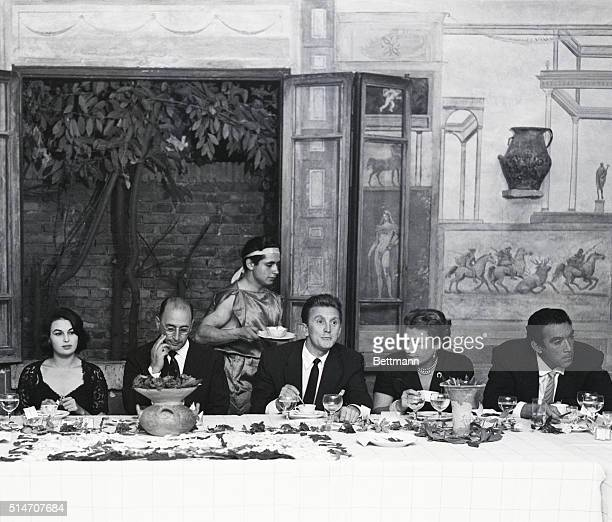 10/9/1953Ostia Antica Italy Film star Kirk Douglas is host at a farewell party for the members of the cast and crew of the motion picture Ulysses in...