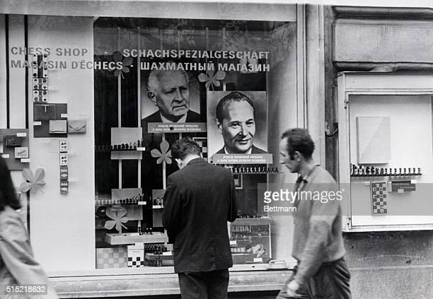 Prague, Czechoslovakia- Portraits of Czechoslovakian President Ludvig Svoboda and Czech Communist party leader Alexander Dubcek are here displayed in...