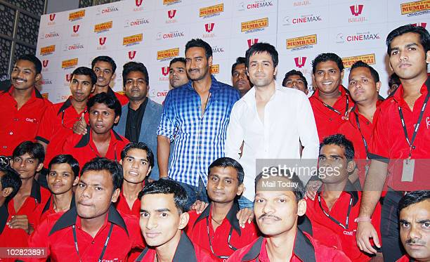 Ajay Devgan and Emran Hashmi at a promotional event for the film Once Upon A Time In Mumbai in Mumbai on July 10, 2010.