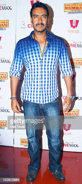 Ajay Devgan at a promotional event for the film Once Upon A Time In Mumbai in Mumbai on July 10, 2010.