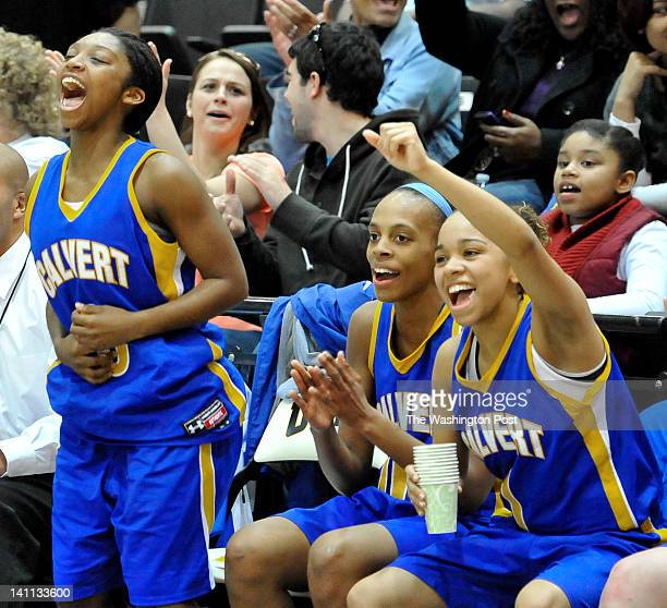 Calvert's Jasmine Weems Tiara Lester and Rachel Loube celebrated as a teammate scored in the last minute of the game in the Maryland 2A championship...