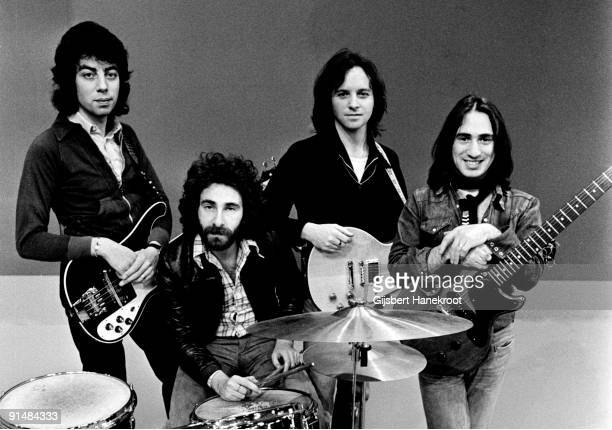 10cc perform live on Top Pop TV show at Hilversum Studios in Holland in 1975 LR Graham Gouldman Kevin Godley Eric Stewart Lol Creme