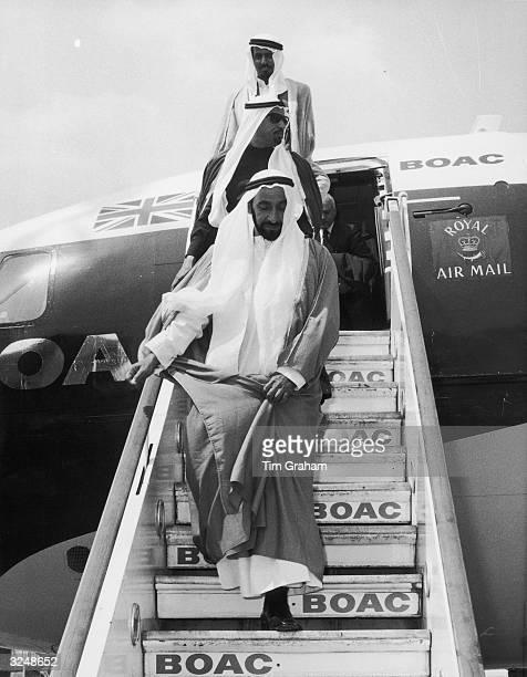 Sheikh Zayed bin Sultan alNahayan ruler of Abu Dhabi arrives at Heathrow Airport London at the start of his first official visit to Britain