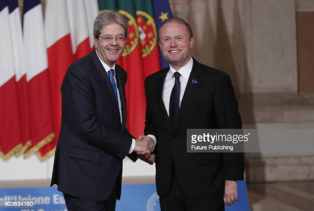 Italy's Prime Minister Paolo Gentiloni adnMalta's Prime Minister Joseph Muscat during the Summit of Mediterranean EU countries at Villa Madama in...