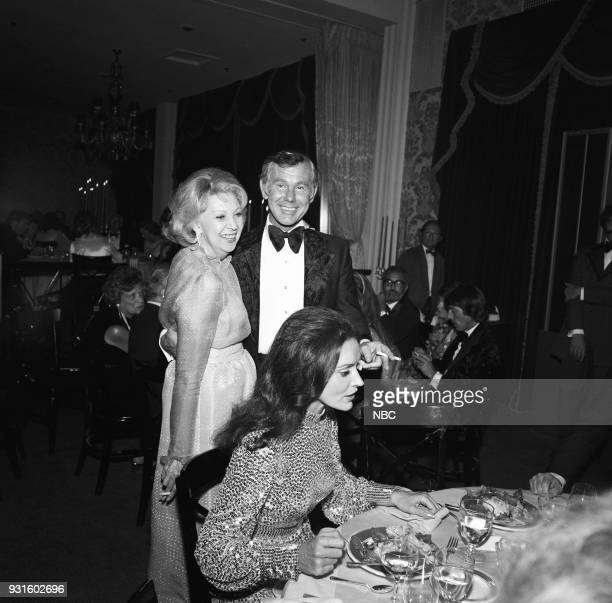 CARSON 10th Anniversary Party Pictured Actress/comedian Mary Livingstone Johnny Carson and Joanna Holland during the 'Tonight Show Starring Johnny...