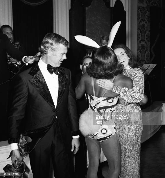 CARSON 10th Anniversary Party Pictured Host Johnny Carson Comedian Flip Wilson as Geraldine Joanna Holland during the 'Tonight Show Starring Johnny...