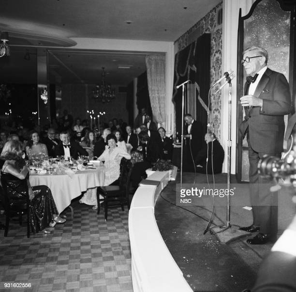 CARSON 10th Anniversary Party Pictured Janet de Cordova Joanna Holland Johnny Carson Actor/comedian George Burns during the 'Tonight Show Starring...