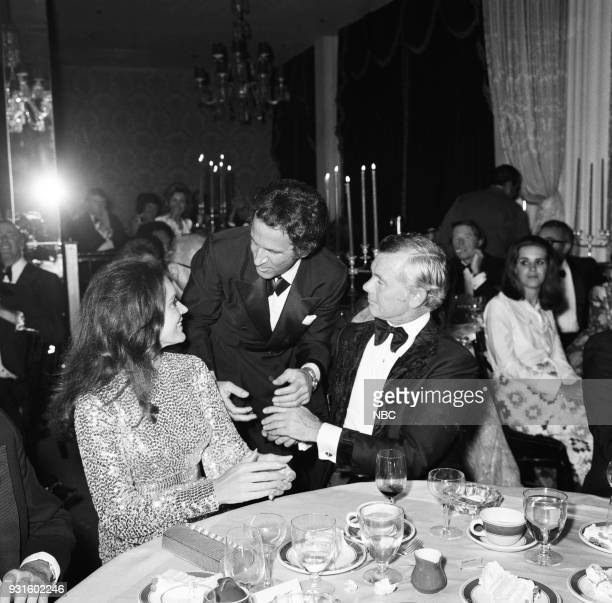CARSON 10th Anniversary Party Pictured Joanna Holland actor Don Adams and Johnny Carson during the 'Tonight Show Starring Johnny Carson' 10th...