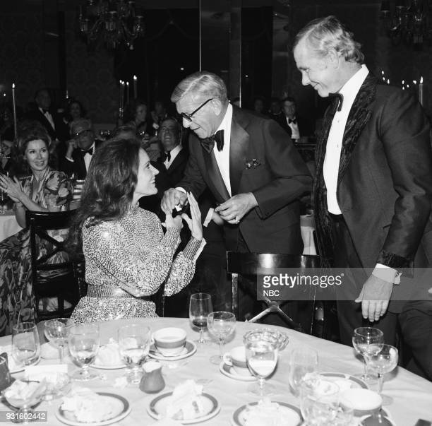 CARSON 10th Anniversary Party Pictured Joanna Holland George Burns Johnny Carson during the 'Tonight Show Starring Johnny Carson' 10th Anniversary...