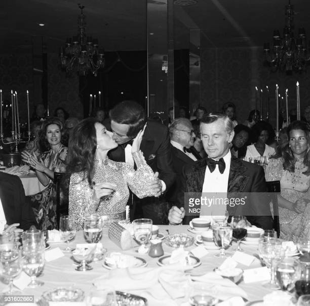 CARSON 10th Anniversary Party Pictured Joanna Holland Joey Bishop Johnny Carson during the 'Tonight Show Starring Johnny Carson' 10th Anniversary...