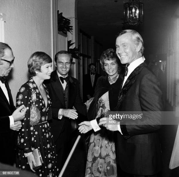 CARSON 10th Anniversary Party Pictured Johnny Carson Productions vice president David W Tebet Ginny Newhart Comedian Bob Newhart actress Dolly Reed...