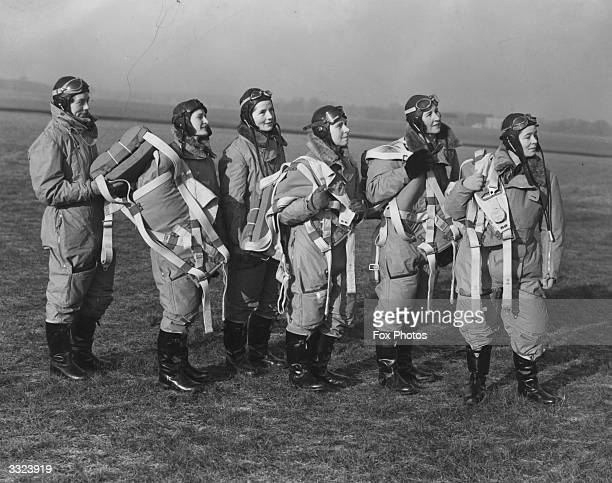 Pilots selected for the women's section of the British Air Transport Auxiliary to ferry light trainer aircraft for the Royal Air Force