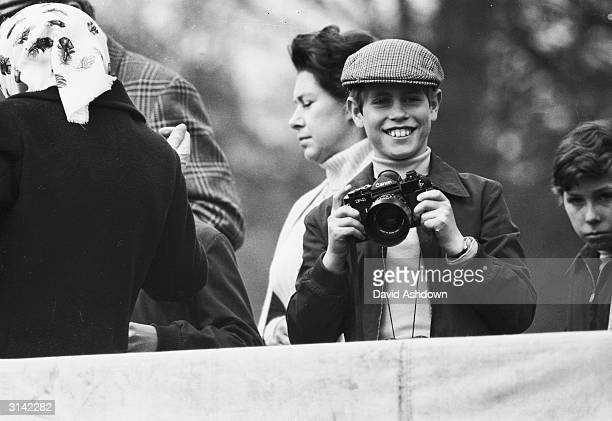 Young Prince Edward waiting for a photo opportunity at the Badminton Horse Trials where Captain Mark Phillips was competing for a place in the...