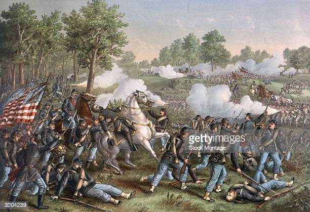 US Civil War 186165 Union Brigadier General Nathaniel Lyon mortally wounded by Confederate rifle fire during the Battle at Wilson's Creek Missouri...