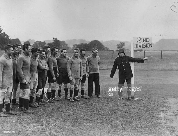 Plymouth Argyle FC trainer Tommey Haynes as a points duty policeman directing the way to promotion Left to right Leslie Pullen Jack Cock Forbes Black...
