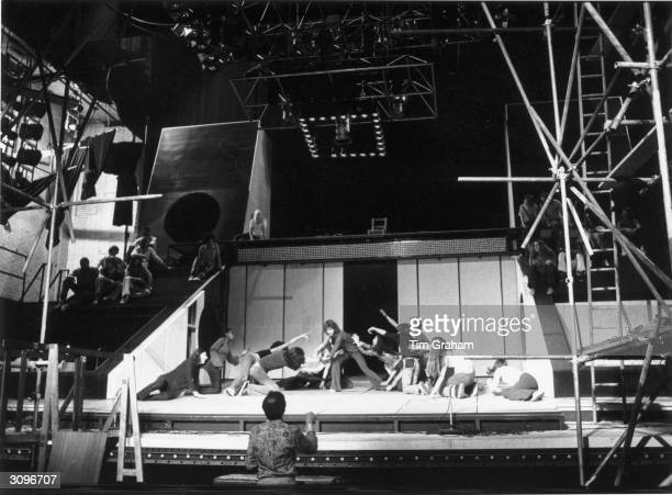 British actor Paul Nicholas on stage during the opening scene of the musical 'Jesus Christ Superstar'.