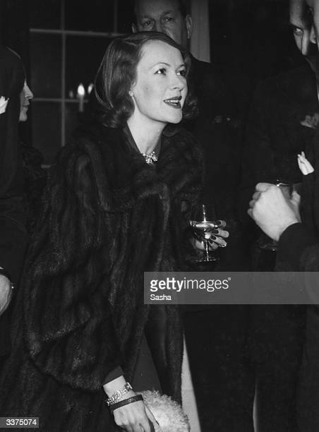 Lady Ashbey wife of US actor Douglas Fairbanks Jnr at a cocktail party at Queen Anne's Gate London hosted by Bobby Notham
