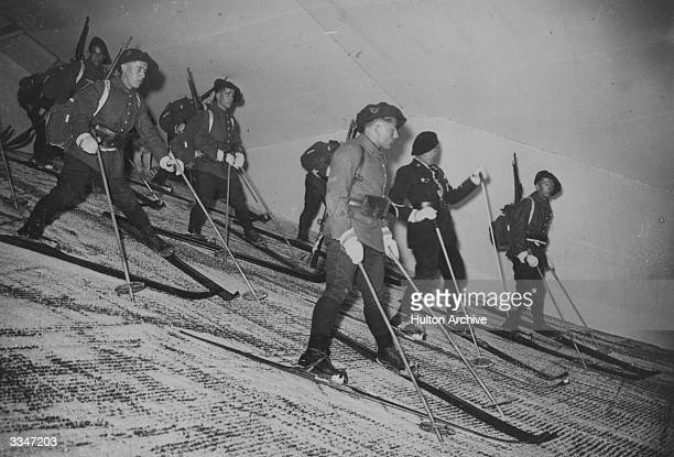Soldiers of the 2nd Alpine Battalion practice their moves on a dry ski slope in Versailles