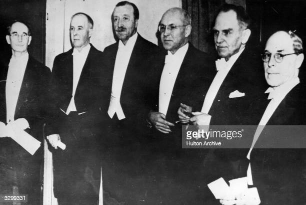 German physical chemist and radiologist Otto Hahn at the Nobel Prize ceremony He stands with other winners CW Bridgeman JB Sumner JH Northrop WM...