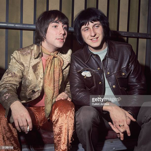 Keith Moon the drummer of the British mod band 'The Who' with his bandmate bass guitarist John Entwistle Internel Studios in Stonebridge Park Wembley...