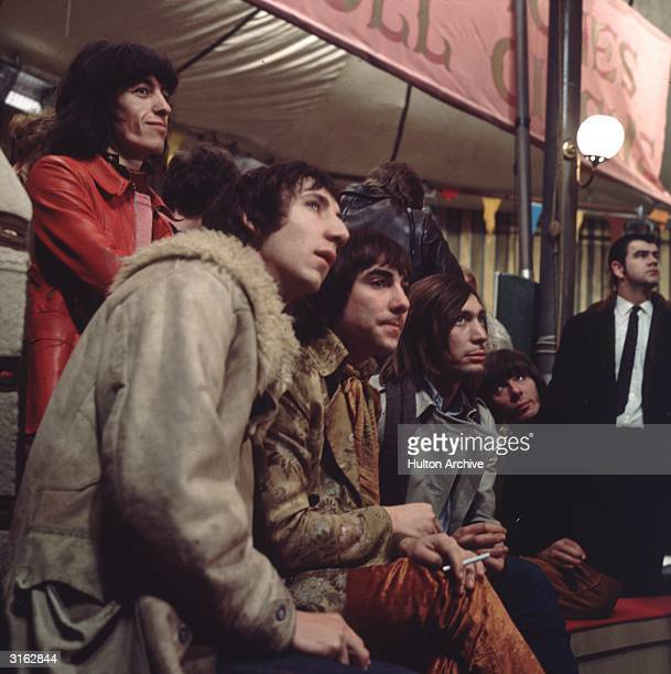 Members of the Who and the Rolling Stones at Internel Studios in Stonebridge Park Wembley during the making of the Rolling Stones Rock and Roll...