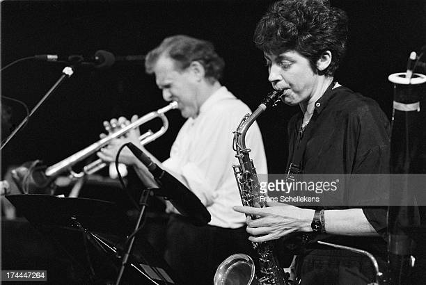 10th: English musician Lindsay Cooper performs with trumpet player Phil Minton at the BIM Huis in Amsterdam, Netherlands on 10th February 1989.