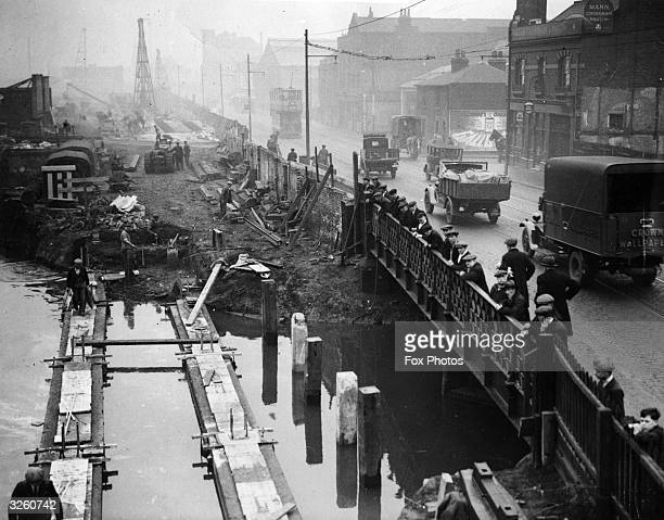 The Grand Union Canal at Stratford East London being filled in to become Broadway Road