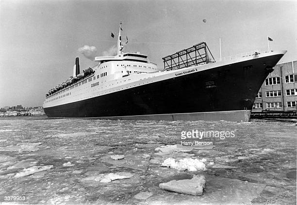 The luxury liner QEII arriving in New York's icebound harbour