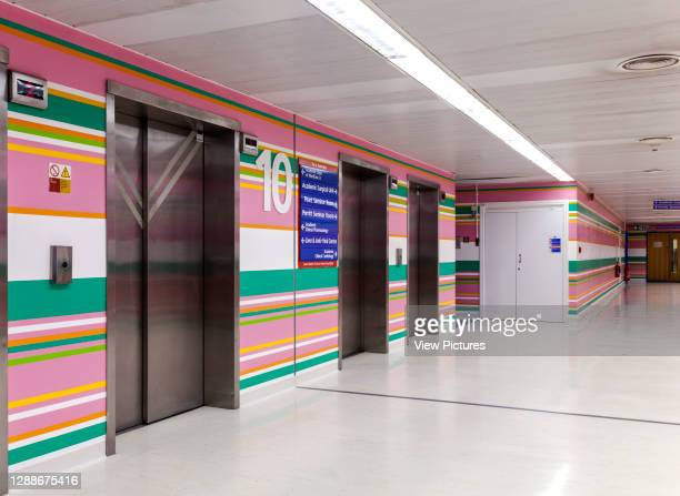 10th floor lift wall to corridor. St Mary's Hospital, London, United Kingdom. Architect: Bridget Riley, 2014.