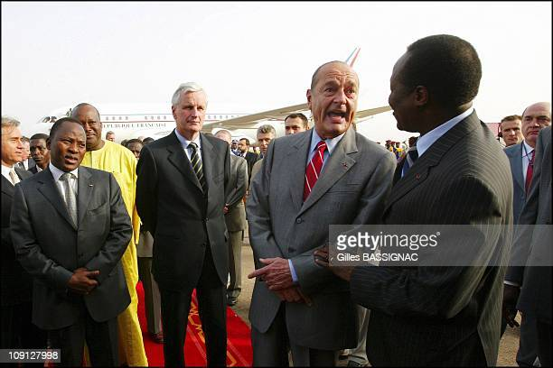 10Th French-Speaking Summit. French President Jacques Chirac Arrival At The Airport And Welcoming By The Ouagadougou Population. On November 25, 2004...