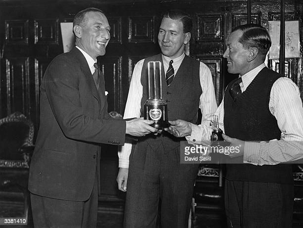 County Cricketers Billiards Championships at Burroughes Hall, Soho Square, London. Douglas R Jardine England cricket captain, presenting the winners...