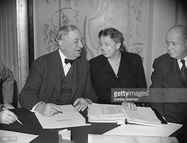 American humanitarian and social activist Eleanor Roosevelt at a meeting in Claridges Hotel in London.