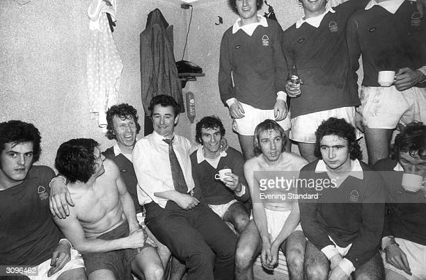 Nottingham Forset manager Brian Clough in the dressing room with members of his team amongst them is the future Leicester City manager Martin O'Neill