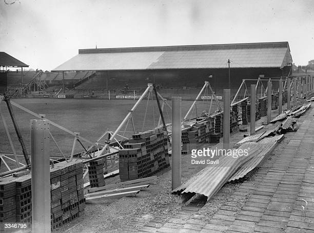 The new grandstands being erected at the Brentford Football Club's ground London following their promotion to the First Division