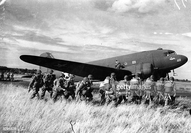 US paratroopers ready to embark in their Douglas C 47 Skytrain transport aircraft
