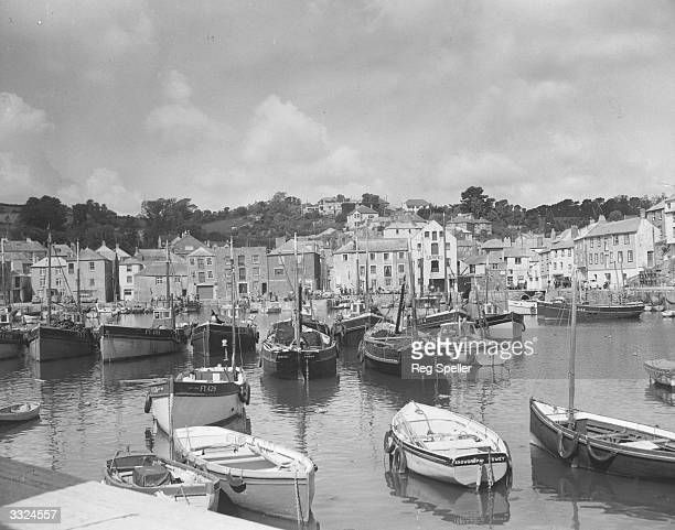 Boats in the harbour at Mevagissey Cornwall