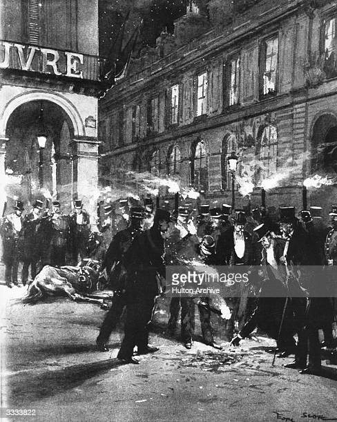 The scene of the explosion following the attempt to assassinate the Spanish King Alfonso XIII as he was leaving the Paris Opera Officials search for...