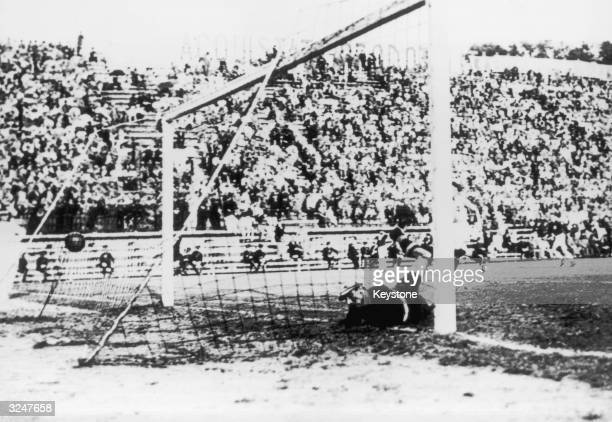 Italian goalkeeper Giamperro Combi is beaten by a shot from Antonin Puc of Czechoslovakia in the 70th minute of the 1934 World Cup Final in Rome...