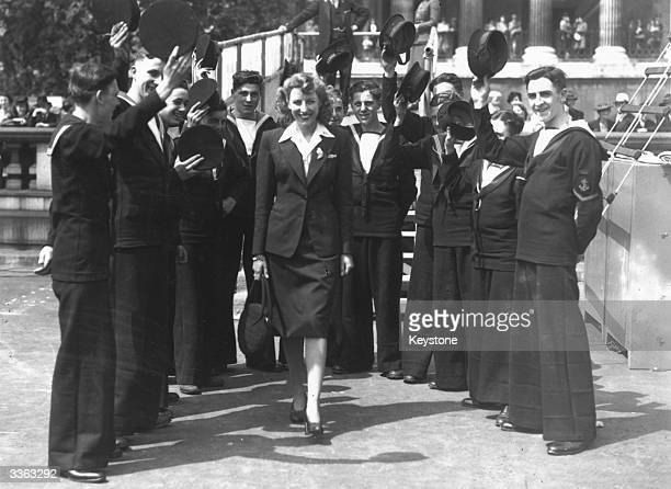 British singer Vera Lynn receives a grand welcome as she arrives in Trafalgar Square London to sing during the 'Salvage Week' campaign