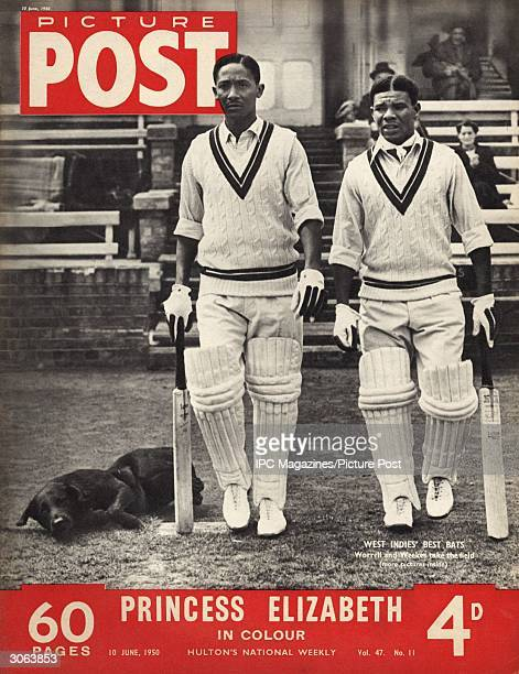 West Indies batsmen Frank Worrell and Everton de Courcy Weekes take the field during a match The headline beneath reads 'Princess Elizabeth in...