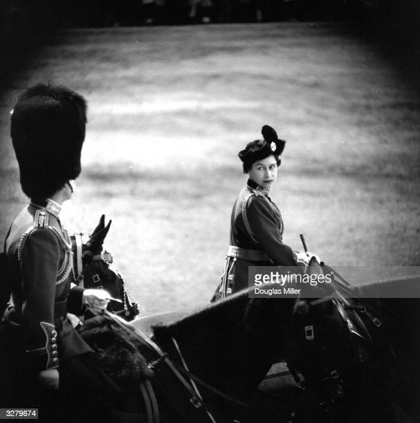 Queen Elizabeth II and Prince Philip Duke of Edinburgh on horseback during a Trooping of the Colour ceremony at Horse Guards Parade London...