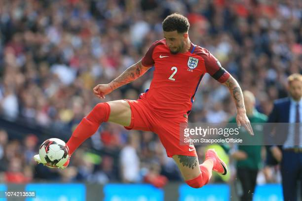 10th June 2017 2018 FIFA World Cup Qualifying Scotland v England Kyle Walker of England leaps to control the ball