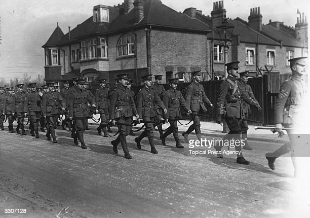 The London Territorials on their way to training at Aldershot from Barnes Station