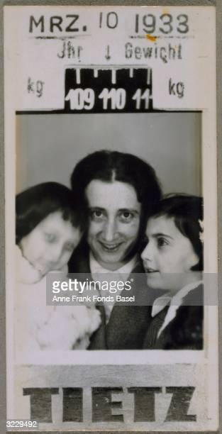 EXCLUSIVE A portrait of Edith FrankHollander and her daughters Anne Frank and Margot Frank taken in a photo booth at the Tietz department store with...