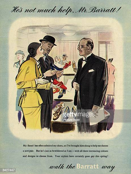 'He's not much help Mr Barratt' confides a young lady about her hapless fiance who has accompanied her to Barratt's Shoe Shop to help her choose a...